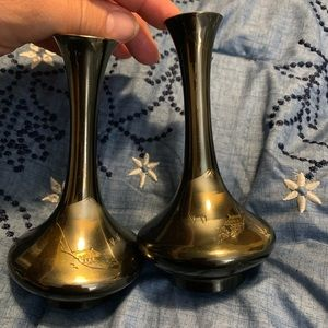 2 small goldish color vases